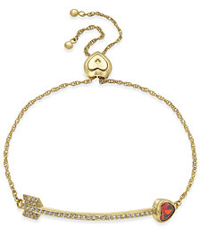 kate spade new york Crystal Heart Arrow Slider Bracelet