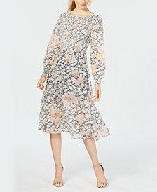 Avec Les Filles Smocked-Floral Midi Dress