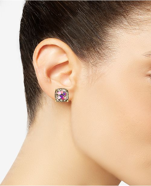 c507fedf4 kate spade new york Gold-Tone Heart Glitter Square Stud Earrings ...