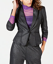 XOXO Juniors' Metallic Ruched Blazer Jacket