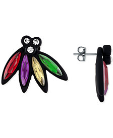 RACHEL Rachel Roy Black-Tone Multi-Stone Front and Back Stud Earrings