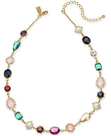 "kate spade new york Gold-Tone Multi-Crystal & Imitation Pearl Collar Necklace, 17"" + 3"" extender"