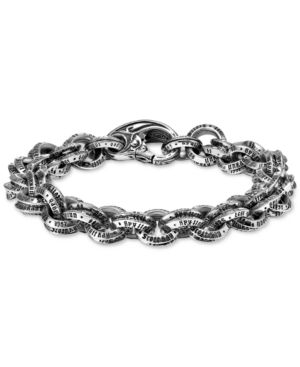 SCOTT KAY Men'S Logo Link Bracelet In Sterling Silver