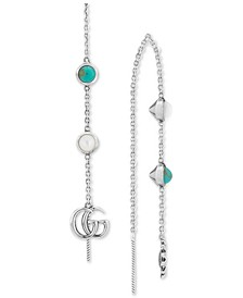 Mother-of-Pearl & Turquoise Resin Logo Mismatch Drop Earrings in Sterling Silver