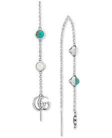 Gucci Mother-of-Pearl & Turquoise Resin Logo Mismatch Drop Earrings in Sterling Silver