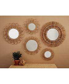 Set Of 5 Handcrafted Natural Rattan Wall Mirrors