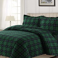 Cambridge Plaid Cotton Flannel Printed Oversized King Quilt Set