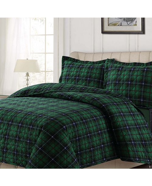 Tribeca Living Cambridge Plaid Cotton Flannel Printed Oversized King Quilt Set