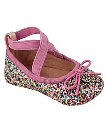 Jessica Simpson Youth Kids Pink Multi Glitter Flat