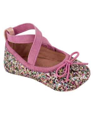 Jessica Simpson Youth Kids Pink Multi Glitter Flat