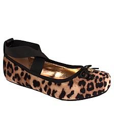 Jessica Simpson Youth Big Kids Leopard Velvet Cross Strap Ballet Flat