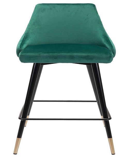 Zuo Piccolo Counter Chair Green Velvet