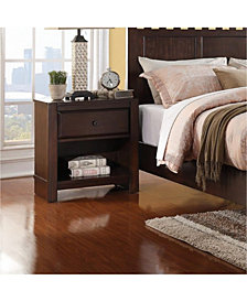 Pine Wood Night Stand With Open Shelf, Brown