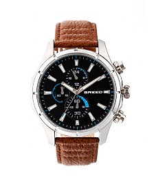 Breed Quartz Lacroix Chronograph Silver And Brown Genuine Leather Watches 47mm