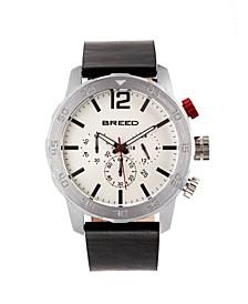 Quartz Manuel Chronograph Silver Genuine Leather Watches 46mm