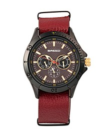 Quartz Dixon Black And Red Genuine Leather Watches 43mm