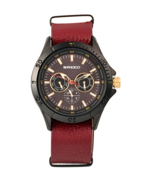 Breed Quartz Dixon Black And Red Genuine Leather Watches 43mm