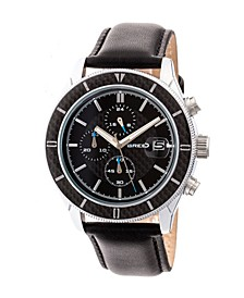 Quartz Maverick Chronograph Silver And Black Genuine Leather Watches 43mm