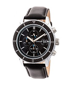 Breed Quartz Maverick Chronograph Silver And Black Genuine Leather Watches 43mm