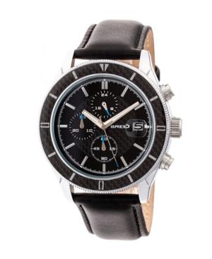Breed Quartz Maverick Chronograph Silver And Black Genuine Leather Watches 43mm