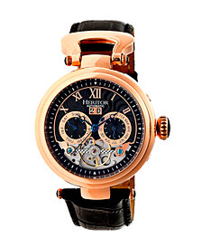 Heritor Automatic Ganzi Rose Gold & Black Leather Watches 44mm