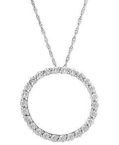 Diamond open circle pendant necklace in 14k white gold necklaces product picture mozeypictures Image collections