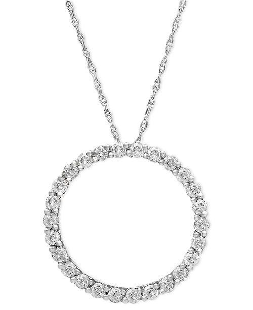 Macy's Diamond Pendant, 14k White Gold Diamond Circle (1/4 ct. t.w.)