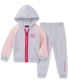 Calvin Klein Little Girls 2-Pc. French Terry Hoodie & Jogger Pants Set