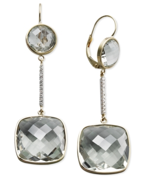 14k Gold Earrings, Green Quartz (20-1/2 ct. t.w.) and Diamond Accent Cushion Cut Earrings
