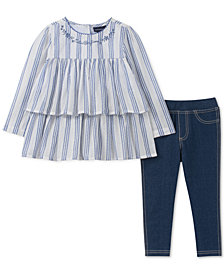 Calvin Klein Little Girls 2-Pc. Striped Tunic & Denim Leggings Set
