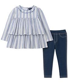 Calvin Klein Toddler Girls 2-Pc. Striped Ruffle Cotton Tunic & Leggings Set