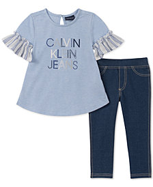 Calvin Klein Toddler Girls 2-Pc. French Terry Tunic & Denim Leggings Set