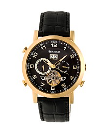 Heritor Automatic Edmond Gold & Black Leather Watches 43mm