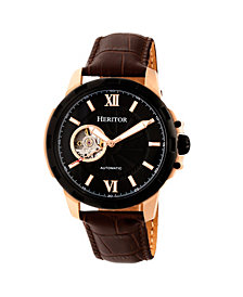 Heritor Automatic Bonavento Rose Gold & Black Leather Watches 44mm