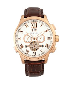 Heritor Automatic Hudson Rose Gold & Brown Leather Watches 47mm