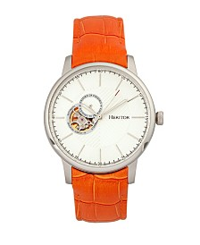 Heritor Automatic Landon Silver & Orange Leather Watches 44mm