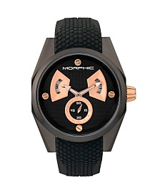 Morphic M34 Series, Black/Rose Gold Silicone Watch, 44mm