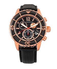 Morphic M51 Series, Rose Gold Case, Black Leather Chronograph Band Watch w/Date