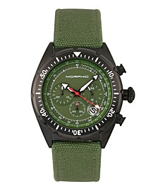 M53 Series, Black Case, Chronograph Fiber Weaved Olive Leather Band Watch w/Date, 45mm