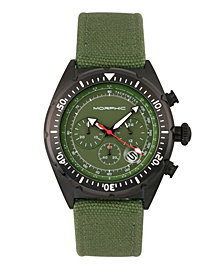 Morphic M53 Series Chronograph Fiber-Weaved Leather-Band Watch w/Date - Black/Olive