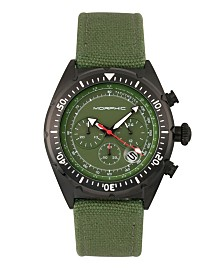 Morphic M53 Series, Black Case, Chronograph Fiber Weaved Olive Leather Band Watch w/Date, 45mm