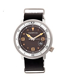 M58 Series, Silver Case, Black Nato Leather Band Watch w/ Date, 42mm