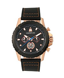 M57 Series, Rose Gold Case, Black Chronograph Leather Band Watch, 43mm