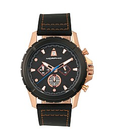 Morphic M57 Series, Rose Gold Case, Black Chronograph Leather Band Watch, 43mm