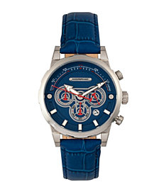 Morphic M60 Series Chronograph Leather-Band Watch w/Date - Silver/Blue