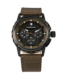 M61 Series, Black Case, Olive Leather Chronograph Band Watch w/Date, 45mm