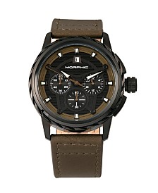Morphic M61 Series, Black Case, Olive Leather Chronograph Band Watch w/Date, 45mm
