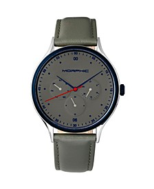 M65 Series, Grey Leather Band Watch w/Day/Date, 42mm