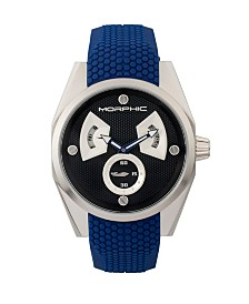Morphic M34 Series, Silver/Blue Silicone Watch, 44mm