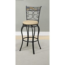 Beautifying Metal Faux Suede Fabric Swivel Barstool, Black (Set Of 2)